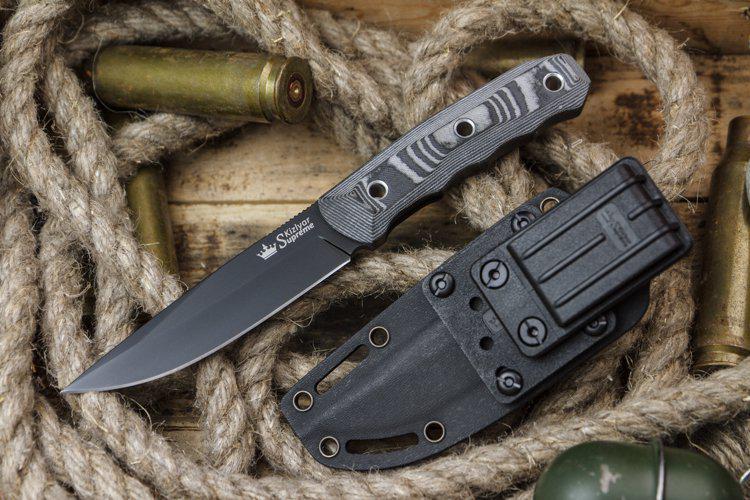Kizlyar Supreme Echo D2 Black Titanium Knife Euro