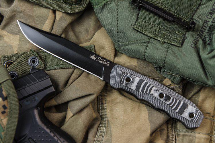 Kizlyar Supreme Enzo D2 Black Titanium Knife Euro