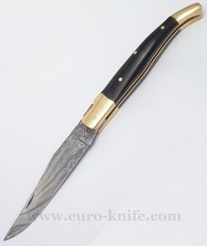 Damask knife Laguiole-buffalo horn