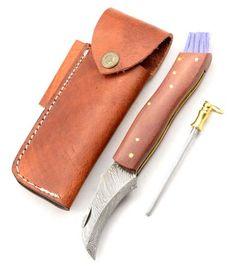 Exclusive Mushroom knife damascus with micarta brown  handmade