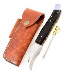 Exclusive mushroom knife with buffalo horn handmade