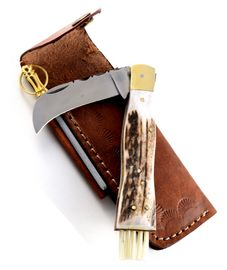 Exclusive mushroom knife with stag horn handmade