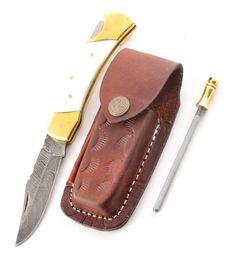 Set Eras camel bone leather sheath and Sharpener