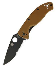 Spyderco Tenacious Brown G10 Blk Serr SC122GPSBBN