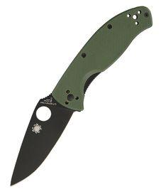 Spyderco Tenacious Green G10 Plain Blk SC122GPBGR