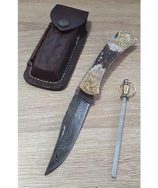 Set Damascus Stag Engraved Bolster leather sheath and Sharpener