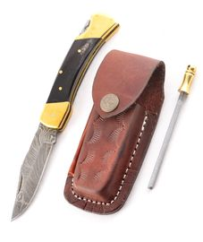 Set Eras buffalo horn leather sheath and Sharpener