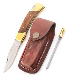 Set Eras wood leather sheath and Sharpener