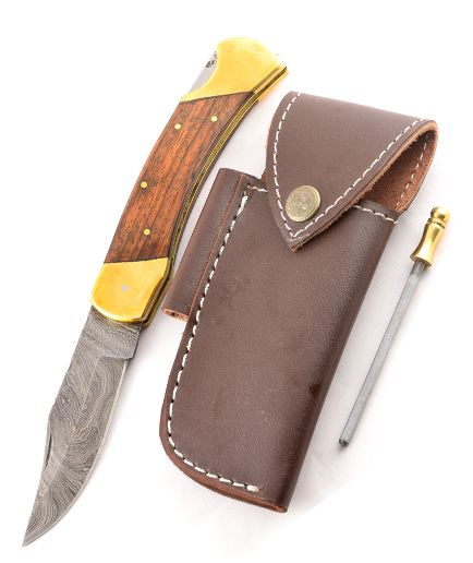 Set Eras4 wood, leather sheath and Sharpener