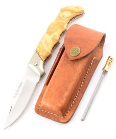 Set Miguel Nieto LINEA CAMPERA 070 leather sheath and Sharpener