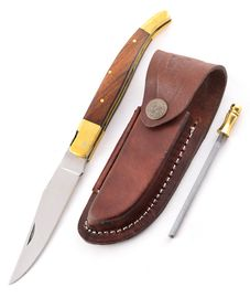 Set - knife Laguiole wood, leather sheath and Sharpener