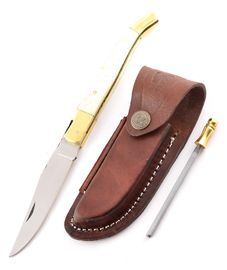 Set - knife Laguiole camel bone, leather sheath and Sharpener